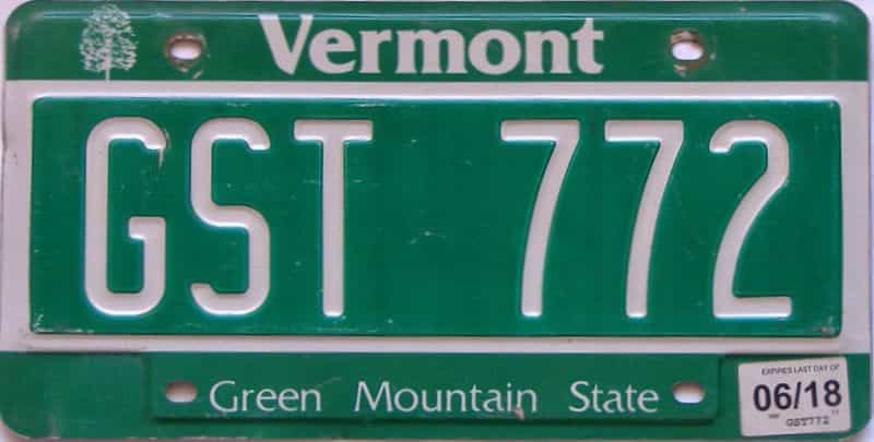 2018 Vermont  (Single) license plate for sale