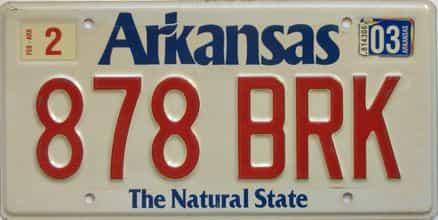 2003 Arkansas license plate for sale