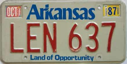 1987 Arkansas license plate for sale