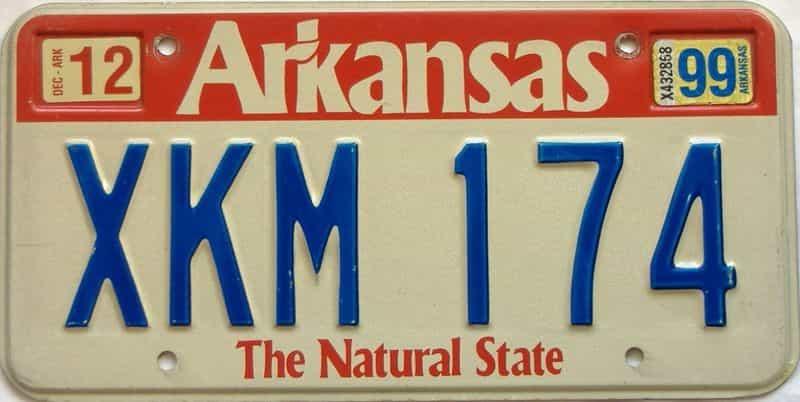 1999 Arkansas license plate for sale