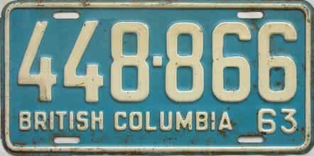 1963 British Columbia  (Single) license plate for sale