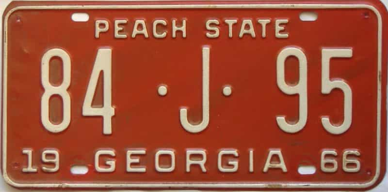 YOM 1966 Georgia (Madison) license plate for sale