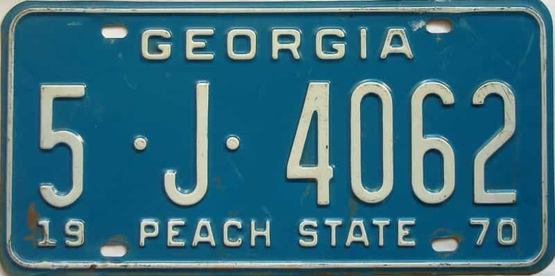 YOM 1970 Georgia (Bibb) license plate for sale