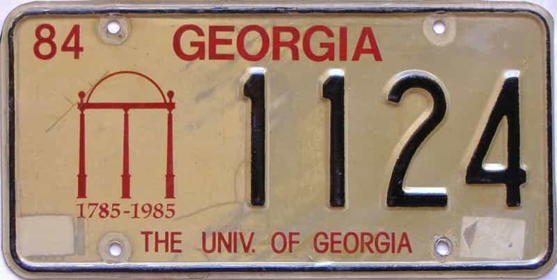 1984 Georgia license plate for sale