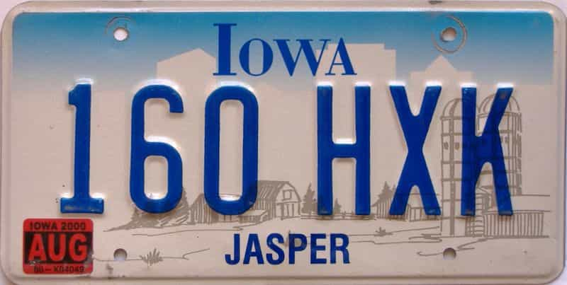 2000 Iowa  (Single) license plate for sale