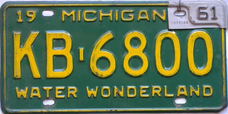 1961 Michigan  (Single) license plate for sale