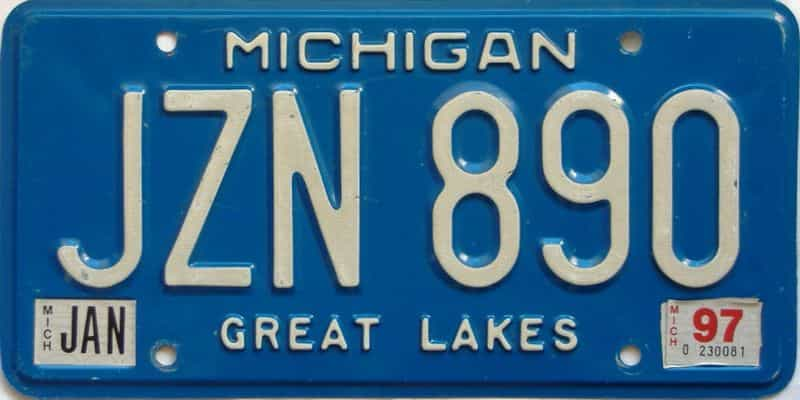 1997 Michigan license plate for sale