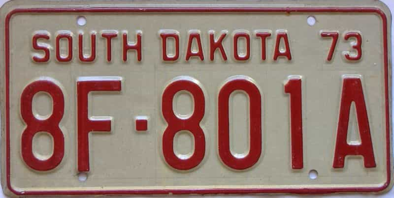 1973 South Dakota  (Farm Truck) license plate for sale
