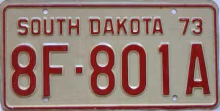 1973 South Dakota  (Farm Truck) license plate for sale