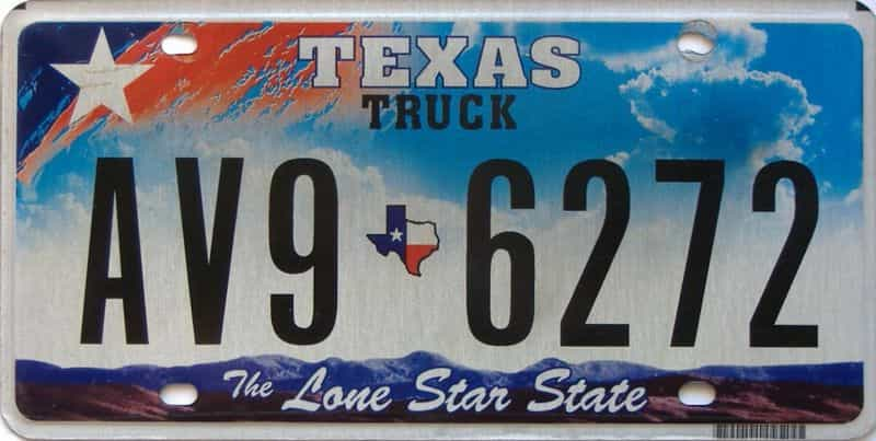 Texas  (Truck) license plate for sale