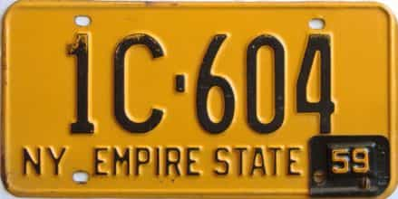 1959 New York  (Single) license plate for sale