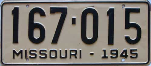 1945 Missouri license plate for sale