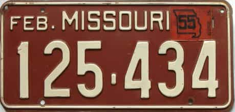 1955 Missouri license plate for sale