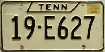 1975 Tennessee  (Single) license plate for sale