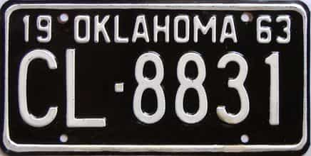 1963 Oklahoma license plate for sale