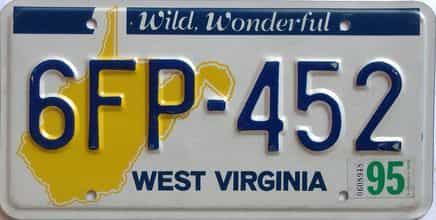 1995 West Virginia license plate for sale