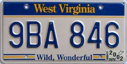 2002 West Virginia license plate for sale