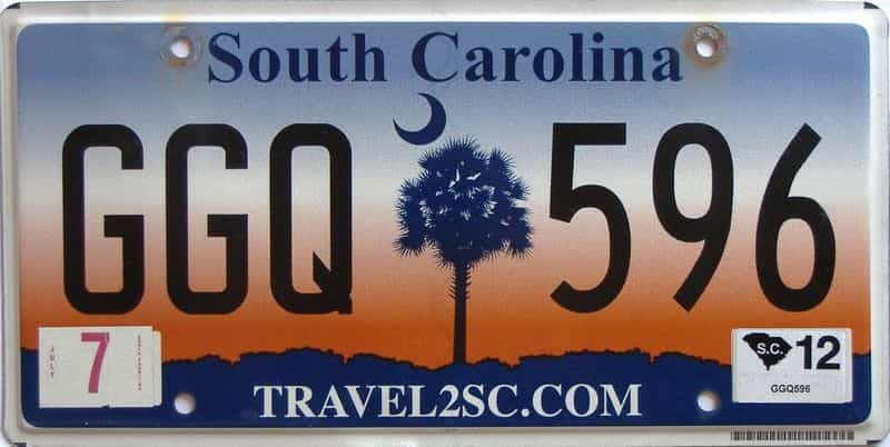2012 South Carolina license plate for sale