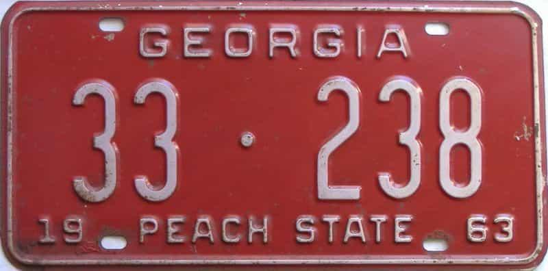 YOM 1963 Georgia (Upson) license plate for sale