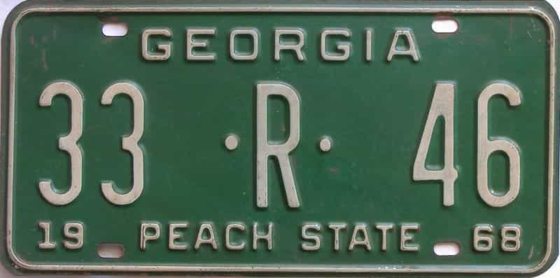 YOM 1968 Georgia (Upson) (Truck) license plate for sale