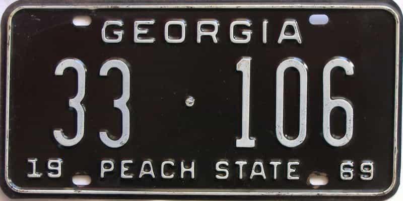 YOM 1969 Georgia (Upson) license plate for sale