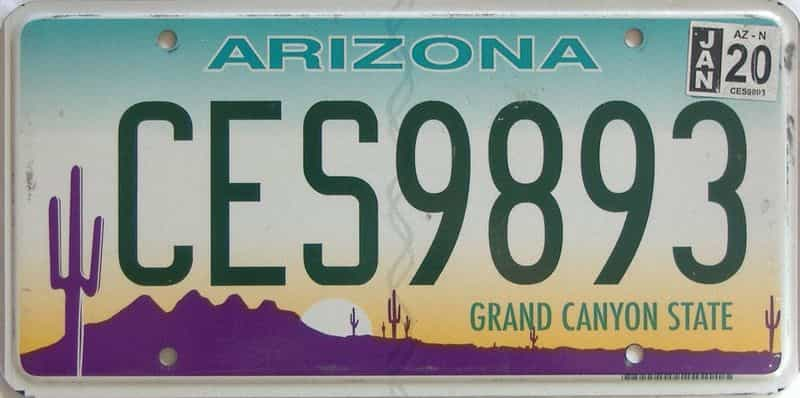 2020 Arizona license plate for sale