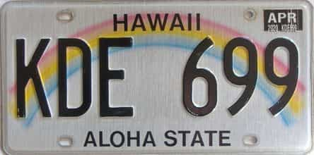 2020 Hawaii  (Single) license plate for sale