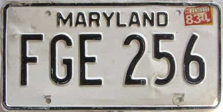1983 Maryland  (Single) license plate for sale