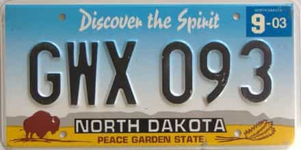 2003 North Dakota  (Single) license plate for sale