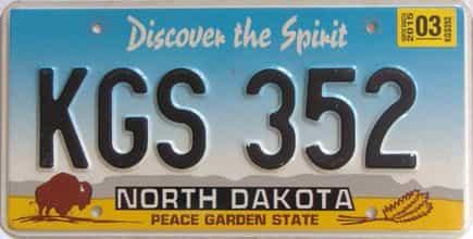 2015 North Dakota  (Single) license plate for sale