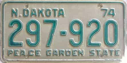 1974 North Dakota  (Single) license plate for sale