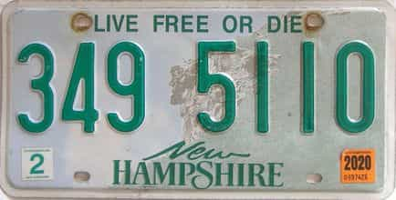 2020 New Hampshire  (Single) license plate for sale