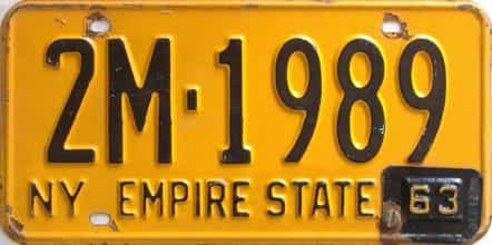 1963 New York  (Single) license plate for sale