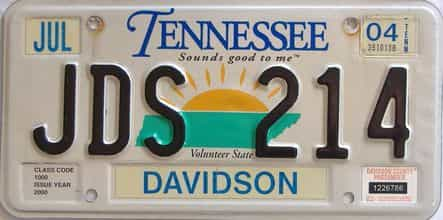 2004 Tennessee license plate for sale