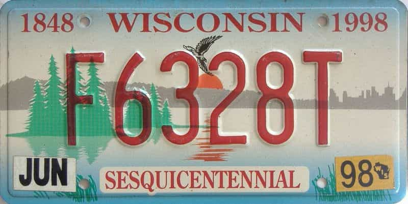 1998 Wisconsin  (Single) license plate for sale