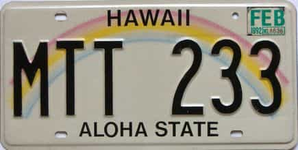 1992 Hawaii  (Single) license plate for sale