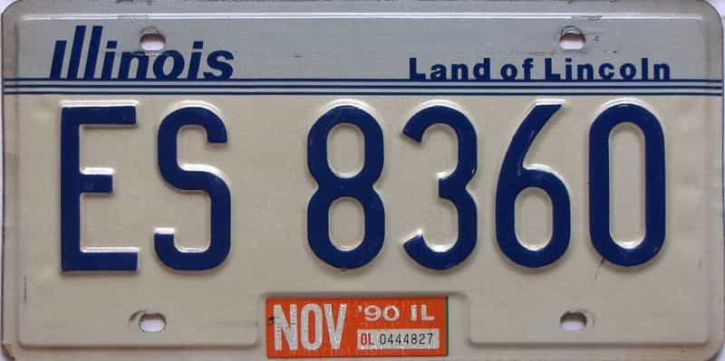 1990 Illinois  (Single) license plate for sale