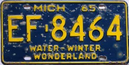 1965 Michigan  (Single) license plate for sale