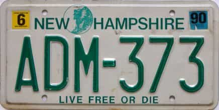 1990 New Hampshire  (Single) license plate for sale