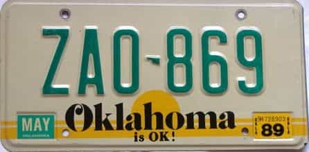 1989 Oklahoma license plate for sale