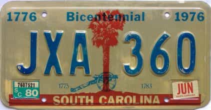 1980 South Carolina license plate for sale