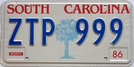 1986 South Carolina license plate for sale