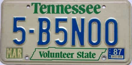 1987 Tennessee license plate for sale