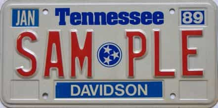 1989 Tennessee  (Sample) license plate for sale
