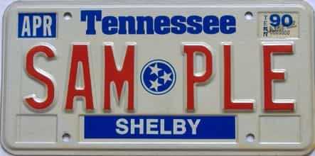 1990 Tennessee  (Sample) license plate for sale