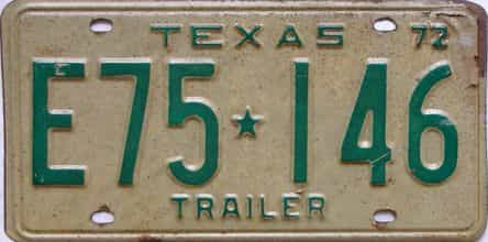 1972 Texas  (Trailer) license plate for sale