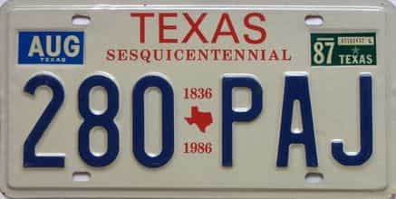 1987 Texas  (Single) license plate for sale