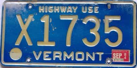 1984 Vermont  (Non Passenger) license plate for sale