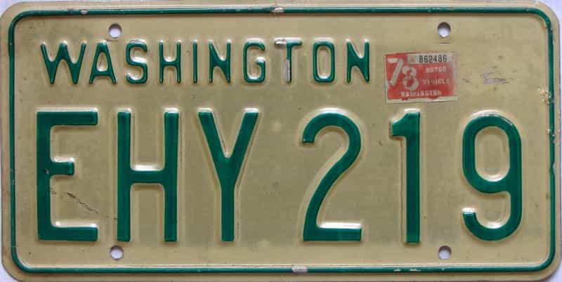1978 Washington  (Single) license plate for sale
