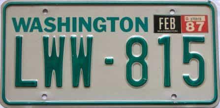 1987 Washington  (Single) license plate for sale